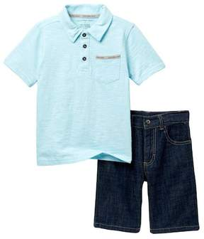 Calvin Klein Polo & Denim Shorts Set (Little Boys)