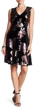 ECI V-Neck Foil Printed Velvet Dress