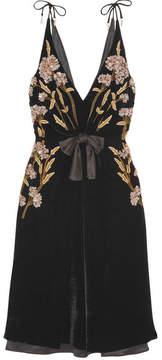 Altuzarra Lisabetta Embellished Embroidered Velvet Dress - Black
