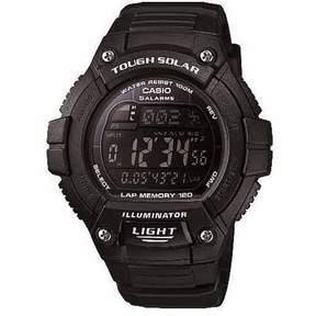 Casio Unisex Solar Multi-Function 120-Lap Runner Watch, Black Resin Strap