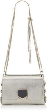 Jimmy Choo LOCKETT MINI Vintage Silver Etched Metallic Spazzolato Shoulder Bag