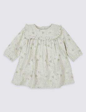 Marks and Spencer Cotton Rich Embroidered Woven Dress