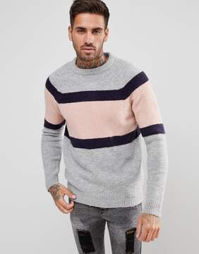 Pull&Bear Block Stripe Sweater In Gray And Pink