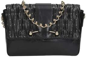 RED Valentino Black Leather Twist Chain Shoulder Bag