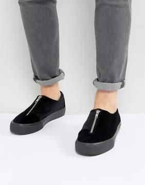 Asos Slip On Zip Sneakers In Black Velvet