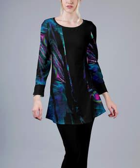 Azalea Black & Blue Abstract Curved-Hem Tunic - Women & Plus