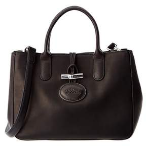 Longchamp Roseau Heritage Small Leather Tote. - BLACK - STYLE