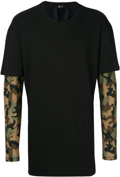 No.21 camouflage print double layered T-shirt