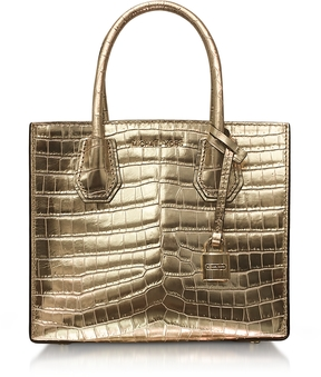 Michael Kors Mercer Medium Gold Metallic Embossed Croco Leather Crossbody Bag - DARK BLUE - STYLE
