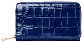 Aspinal of London Midi Continental Clutch Zip Wallet In Deep Shine Navy Croc