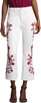 AG Adriano Goldschmied Women's Jodi Cotton Floral Embroidery Flared Pant