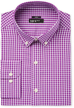 Bar III Men's Slim-Fit Stretch and Easy Care Mulberry Check Dress Shirt, Created for Macy's