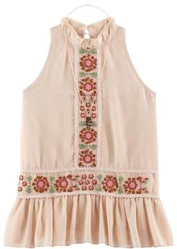 Knitworks Girls 7-16 Embroidered Chiffon Peplum Top with Necklace