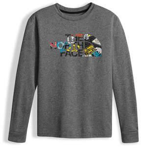 The North Face Boys' Long-Sleeve Logo Reaxion Tee, Gray, Size XXS-XL
