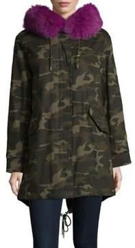 1 Madison Camouflage Fox Fur Trim Jacket