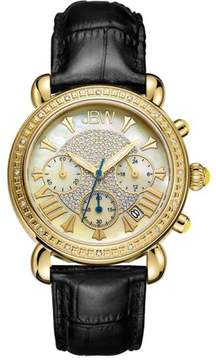 JBW Victory 16-Diamond Goldtone Black Leather Strap Watch