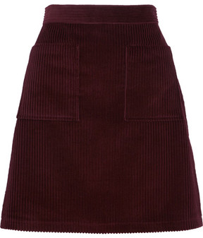 A.P.C. Solene Cotton-corduroy Mini Skirt - Burgundy
