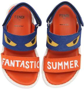 Fendi Monster Eyes Suede & Leather Sandals