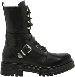 Janet & Janet 30mm Buckled Leather Combat Boots