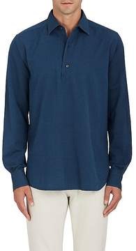 Loro Piana Men's Herringbone Cotton Popover Shirt