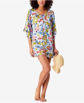 Anne Cole Studio Brigitte Floral-Print Crochet-Trim Cover-Up Women's Swimsuit