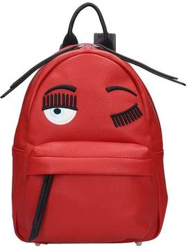 Chiara Ferragni Red Leather Small Flirting Backpack