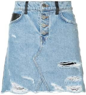 Amiri leather denim fringe skirt