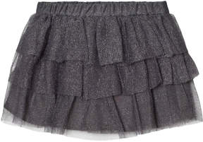 Lili Gaufrette Silver Glitter Tiered Skirt