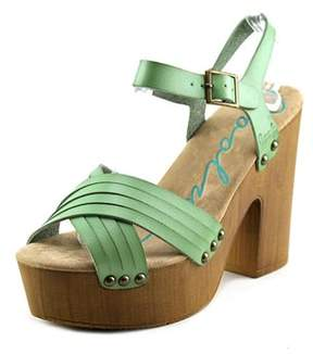 Coolway Cohen Women Open Toe Leather Green Platform Sandal.
