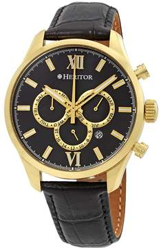 Heritor Benedict Black Dial Gold-tone Case Black Leather Strap Automatic Men's Watch