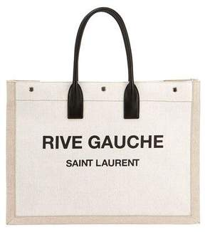 Saint Laurent Noe Cabas Large Rive Gauche Canvas Tote Bag - NEUTRAL - STYLE