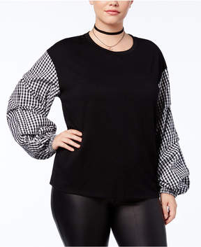 Eyeshadow Trendy Plus Size Plaid Bishop-Sleeve Top
