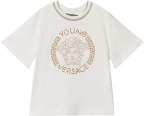 Versace White Stud Medusa with Lurex Detail T-Shirt