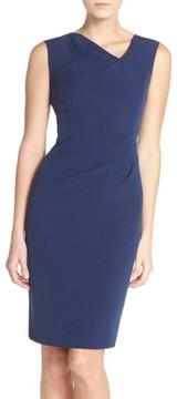Adrianna Papell Women's Drape Neck Crepe Sheath Dress