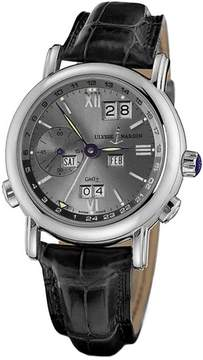 Ulysse Nardin GMT Perpetual Grey Dial 18kt White Gold Black Leather Men's Watch 320-22-32
