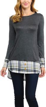 Celeste Charcoal Plaid-Trim Button-Accent Tunic - Women
