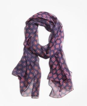 Brooks Brothers Foulard-Print Silk Chiffon Oblong Scarf