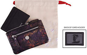 Lodis Leather RFID Zip Keychain Pouch and CardCase Set