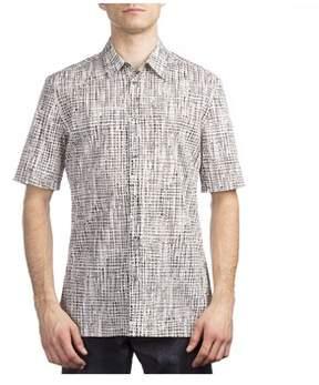 Balenciaga Men's Cotton Checkered Short Sleeve Dress Shirt White.