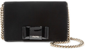 Miu Miu Patent Leather-trimmed Velvet Shoulder Bag - Black