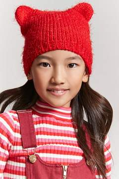 Forever 21 Girls Fuzzy Knit Bear Beanie (Kids)