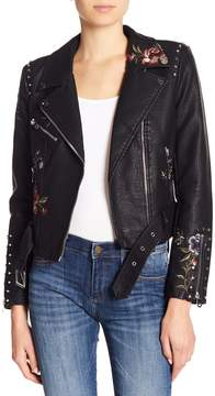Driftwood Embroidered & Studded Faux Leather Moto Jacket