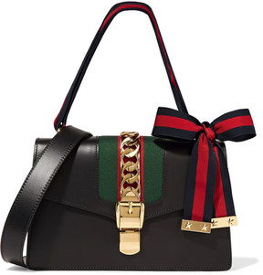 Gucci - Sylvie Medium Chain-embellished Leather Shoulder Bag - Black