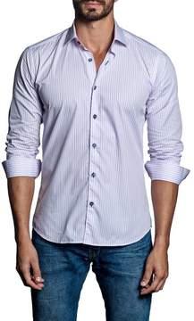 Jared Lang Stripe Woven Trim Fit Shirt