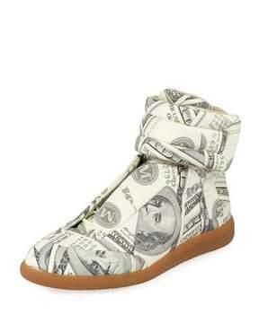 Maison Margiela Men's Future Money High-Top Grip Sneakers, Green Pattern