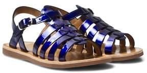 Pom D'Api Pom Dapi Blue Shiny Plagette Strap Sandals