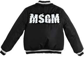MSGM Sequin Logo Nylon Padded Bomber Jacket