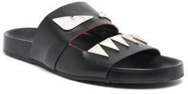 Fendi Bugs Face Leather Slides