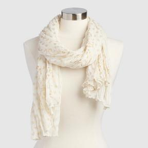 World Market Ivory and Gold Scarf
