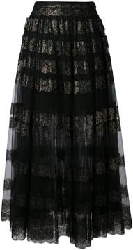 Christopher Kane long lace foil and tulle skirt